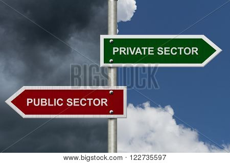 Private Sector versus Public Sector concept, Red and Green street signs with blue and stormy sky with words Private Sector versus Public Sector