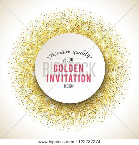 Gold glitter texture isolated on white background. Vector illustration for golden shimmer background. Sparkle sequin tinsel yellow bling. For sale gift card, brightly vibrant certificate, voucher