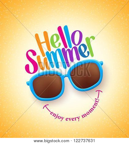 Summer Shades with Hello Summer Happy Colorful Concept in Cool Yellow Background for Summer Season. Vector Illustration poster