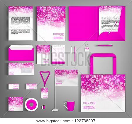 Pink corporate identity template design with floral pattern. Business set stationery.
