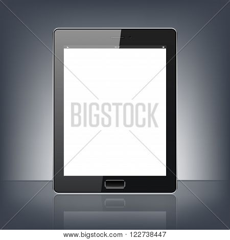 Modern digital tablet PC isolated on the black background. Science and tecnology concept. Vector Illustration.