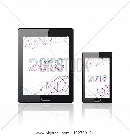 Modern digital tablet PC with mobile smartphone isolated on the white.  Molecule and communication background. Science design. Vector Illustration.