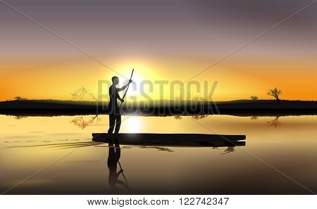 Vector Illustration of Sunset on African River Delta With Man in The Boat Eps 10 Vector Gradient Mesh and Transparency Used