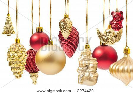 Many Hanging Christmas Globes Or Various Decorations