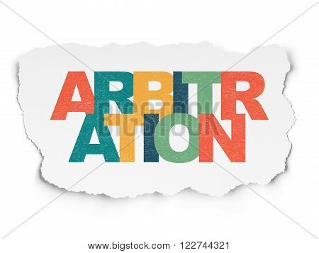 Law concept: Arbitration on Torn Paper background