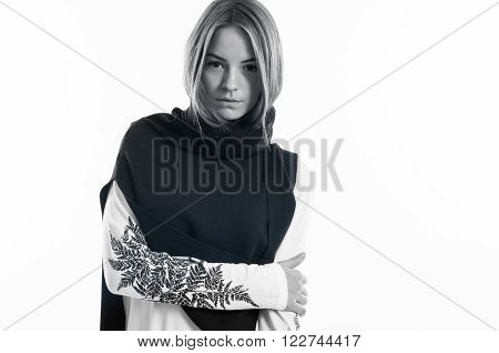 Cute Female Model In Black And White Picture