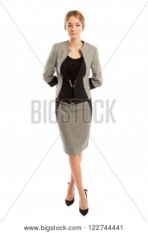 Young And Elegant Business Woman Standing On White Background