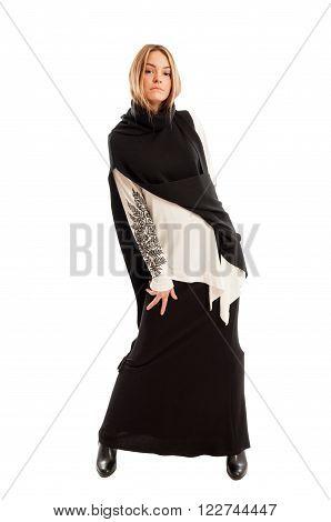 Beautiful Female Model Wearing Long Casual Black Dress