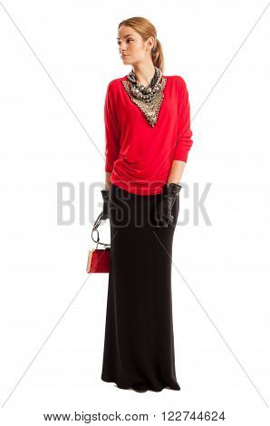 Female Model Wearing Red Blouse And Long Black Skirt