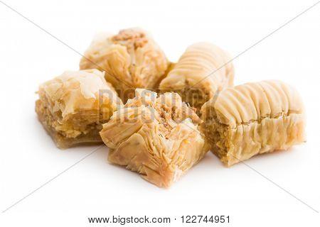 sweet baklava dessert on white background