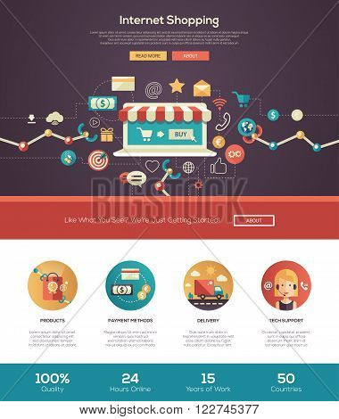 Internet, online shopping web site one page website template layout with thin line design header, banner, icons and other flat design web elements