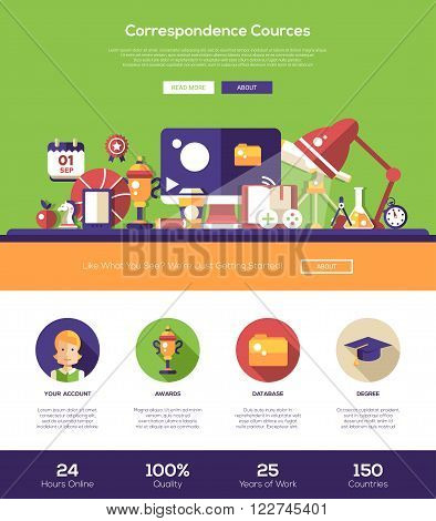 E-learning correspondence cources education web site one page website template layout with thin line design header, banner, icons and other flat design web elements