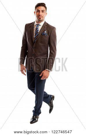 Brunet Male Model Wearing Elegant And Fashionable Suit