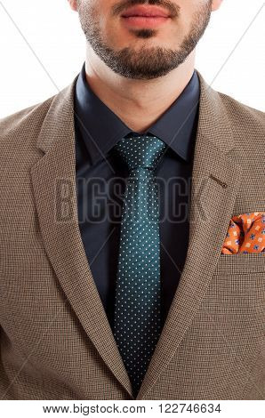 Closeup Of Stylish Suit And Tie