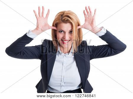 Funny business woman acting childish on white background