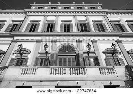 Monza (Brianza Lombardy italy): facade of the historic royal palace. Black and white
