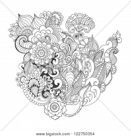 Fantasy flowers coloring page. Hand drawn doodle. Floral patterned vector illustration. African, indian, totem, tribal, zentangle design. Sketch for colouring page, tattoo, poster, print, t-shirt