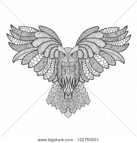 Eagle owl. Adult antistress coloring page. Black white hand drawn doodle animal. Ethnic patterned vector. African, indian, totem tribal, zentangle design. Sketch for tattoo, poster, print, t-shirt