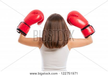 Young Boxer Girl From Behind