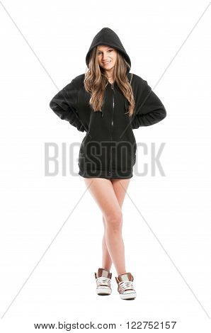 Sexy, Cute, Kinky And Adorable Female Wearing A Hoodie