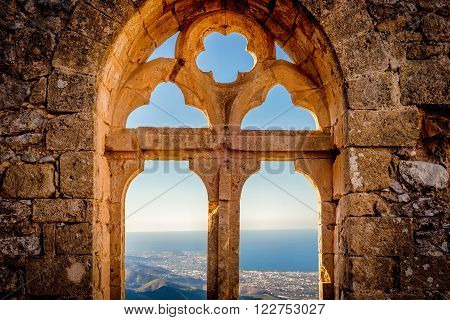 Saint Hilarion Castle, view of the Queen's window (Queen Elanor) in the upper ward. Kyrenia District, Cyprus