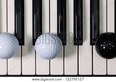 The Piano keyboard and different golf balls