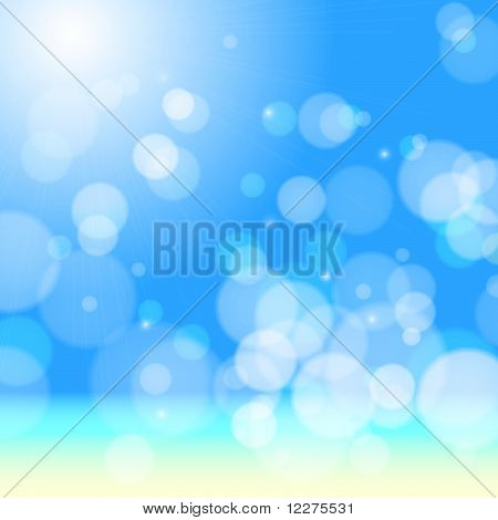 Beautiful sea beach bokeh. Vector eps10 background poster