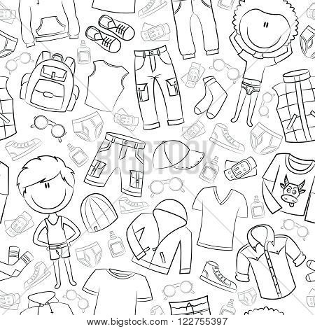 Seamless pattern with modern casual boys clothes
