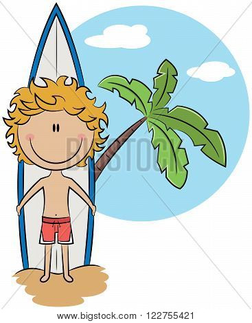 Cute vector surfer boy with surfboad stand near palm tree