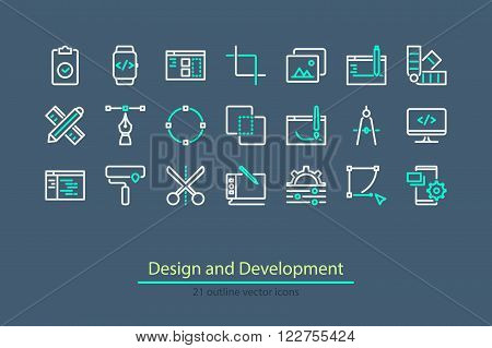 Vector design and development outline icons. Elements for mobile, web applications. Stock vector.