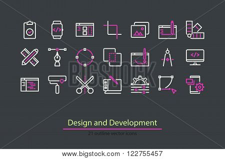 Vector design and development outline icons. Stock vector.