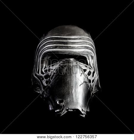 BLOOMFIELD, NJ - MARCH 20, 2016: Studio image of Kylo Ren's face mask from Star Wars, The Force Awakens. Kylo Ren is the son of Han Solo and Leia Organa