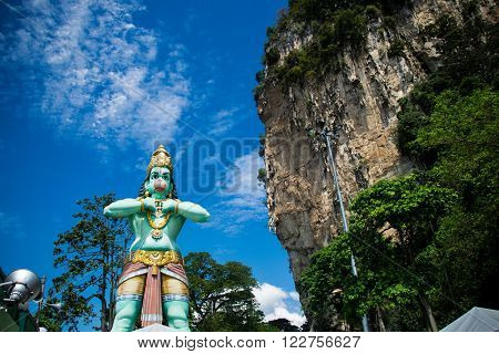 Photo of the  Statue of Lord Hanuman and rock in Batu Caves