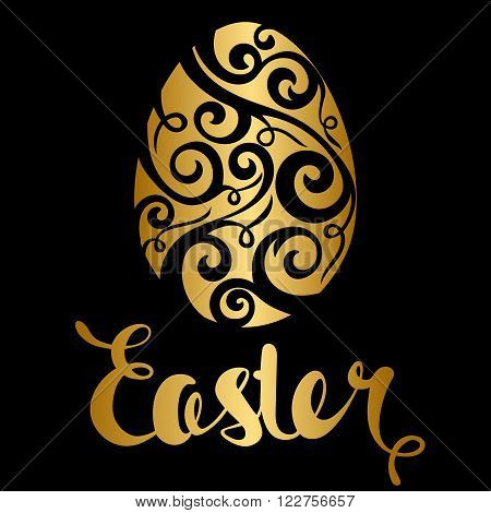 Happy Easter celebration card with golden floral design decorated easter egg. Golden floral decorative egg. Easter lettering. The poster with the golden text Easter on a black background.