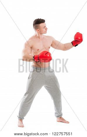 Boxer challanging and opponent isolated on white background