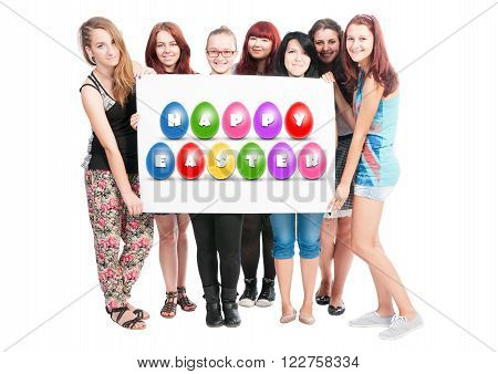 Happy Easter quote text illustration design made on white carton hold by a bunch of teen girls