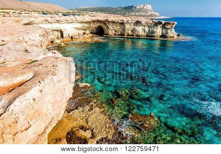 Seashore in Aiya Napa near Cape Greco, Cyprus.
