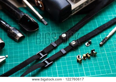 Working Space With Leather For Camera Strap