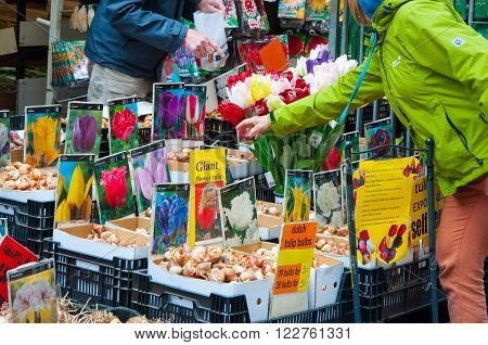 AMSTERDAM-APRIL 28: Shop sells plenty houseplant bulbs on the Amsterdam Flower Market on April 282015 the Netherlands.The Flower market is one of Amsterdam most colourful attractions.