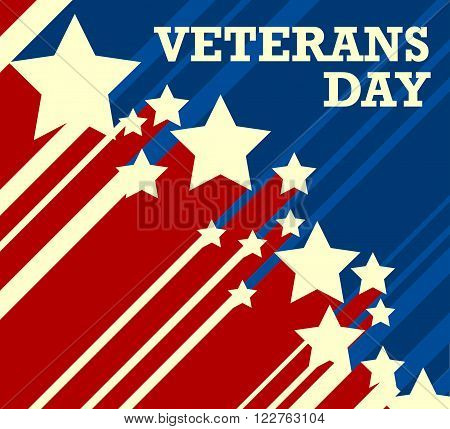 Veterans Day. Usa flag on background - vector illustration