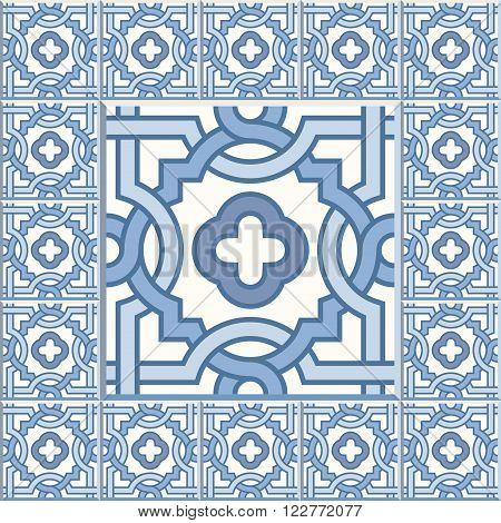 Floor tiles - seamless vintage pattern with cement tiles. Seamless vector background. Vector illustration. One big tile in center is framed in small tiles. Traditional dutch tiles colors - blue and white.