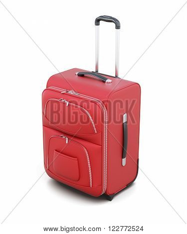 Red suitcase on wheels isolated on white background. With a retractable handle. 3d rendering.
