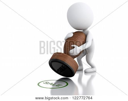 3D Illustration. white people with seal SALE. Isolated white background.