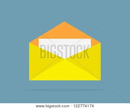 Envelope yellow open design flat. Letter icon, mail and open envelope template, white page, invitation envelope isolated logo vector illustration