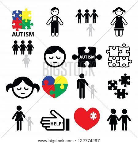 Autism awareness puzzles, autistic children icons set