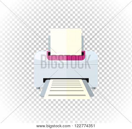 Sale of household appliances. Electronic device white printer logo. Office appliances flat style. Printing, printer icon, printing press, office computer copier
