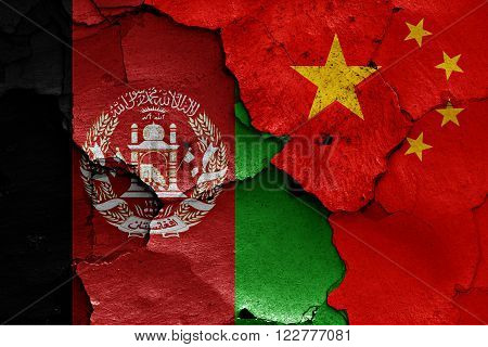 Flags Of Afghanistan And China Painted On Cracked Wall