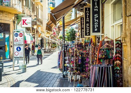 NICOSIA CYPRUS - DECEMBER 3, 2015: Popular tourist souvenir shops at Ledra street on December 3 2015 in Nicosia.