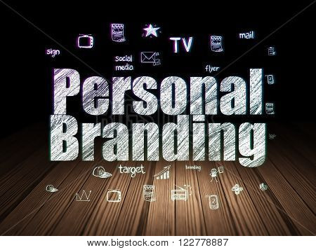 Advertising concept: Personal Branding in grunge dark room