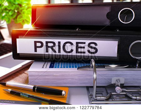 Black Ring Binder with Inscription Prices on Background of Working Table with Office Supplies and Laptop. Prices - Toned Illustration. Prices Business Concept on Blurred Background. 3D Render.